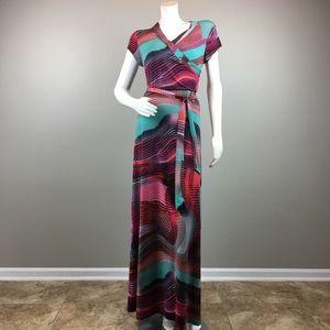 New Directions Maxi Dress Stretch Geometric Print